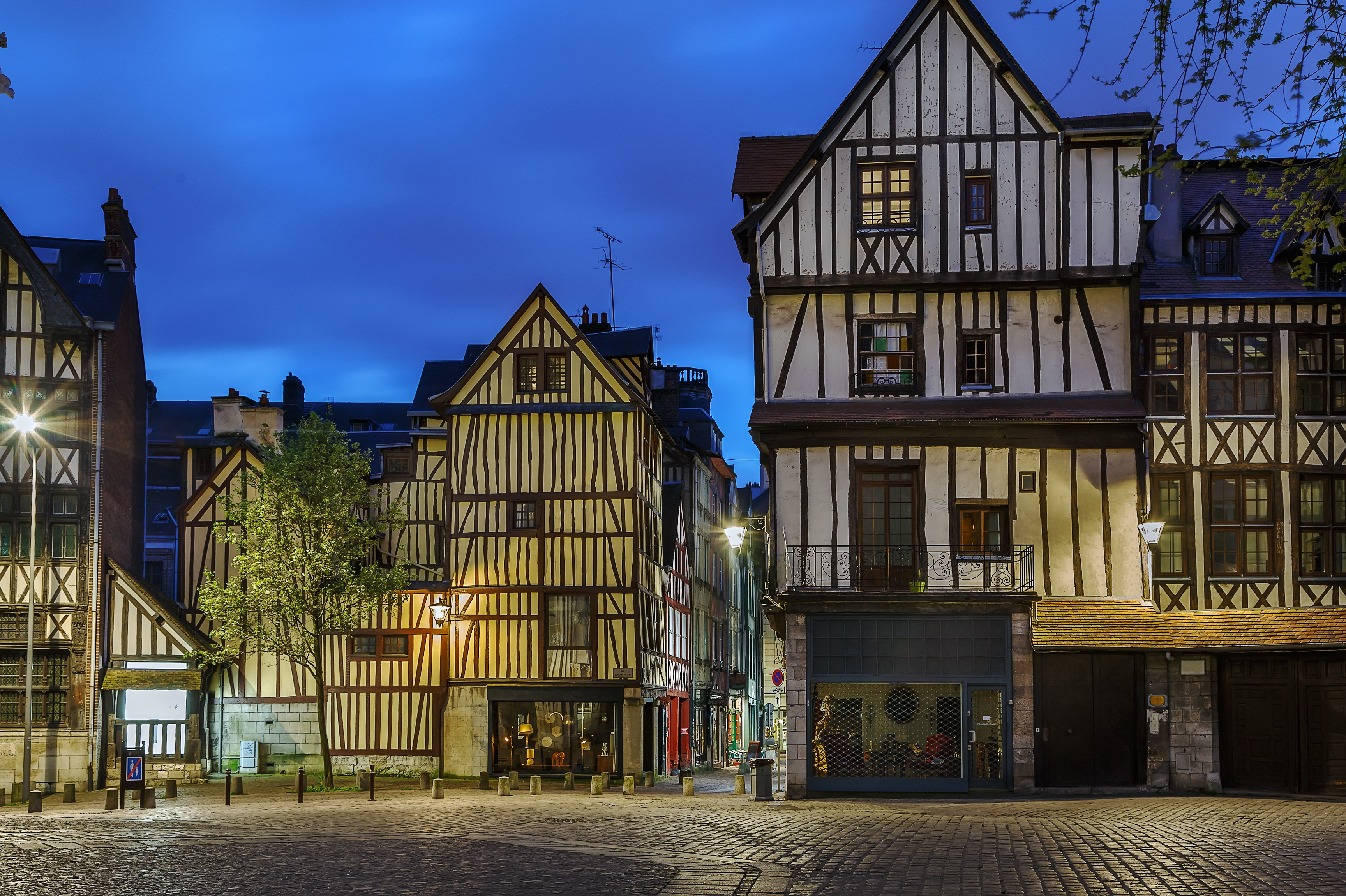 half-timbered houses in France.